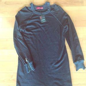 NEW knee length sweatshirt dress w/distressed hem